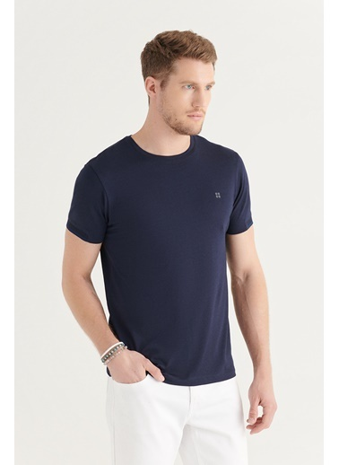 Avva Erkek Bisiklet Yaka Düz Sırt Biye Detaylı T-Shirt A11Y1172 Lacivert